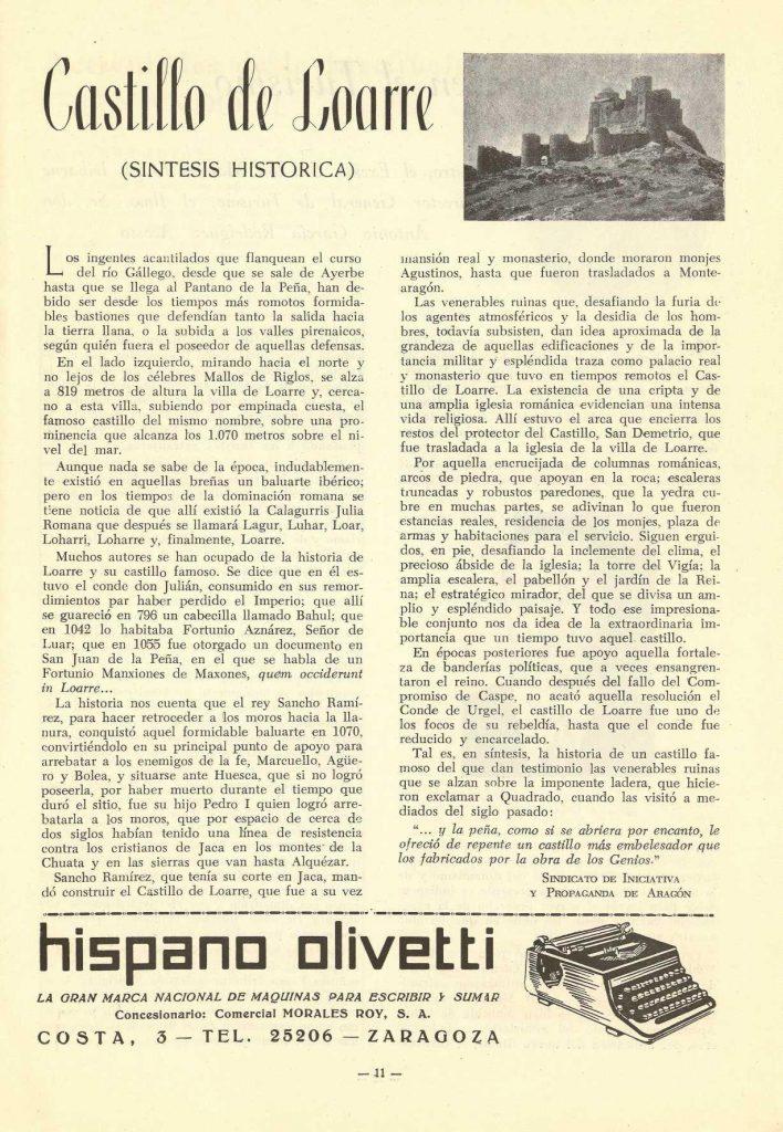 Artículo sobre Loarre en la revista 'ARAGÓN'