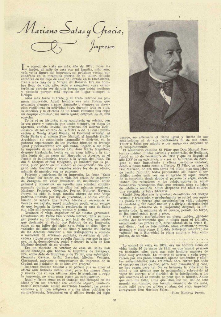 Artículo escrito por Juan Moneva y Puyol y publicado en abril de 1947