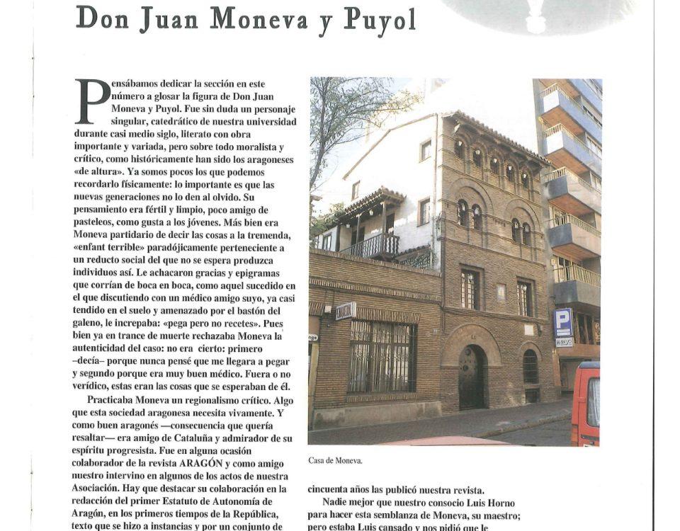 Artículo sobre Juan Moneva y Puyol publicado en la revista de noviembre de 1995